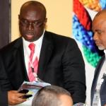 L-R Chuks Iku,Pulicity Secretary,CeBIH; Chuma Ezirim Chairman;CeBIH and Adeyinka Adeyemi MD InterMarc Consulting Ltd at the 2012 annual Conference/Retreat of the CeBIH in Calabar,Cross Rivers State.